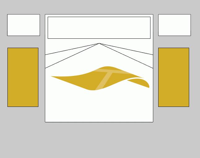 Esquema de alfombras para dormitorio, con una alfombra rectangular igual en cada lateral